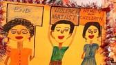 Biểu ngữ với nội dung chấm dứt bạo hành phụ nữ và trẻ em