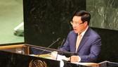 Phó Thủ tướng, Bộ trưởng Ngoại giao Phạm Bình Minh phát biểu tại phiên thảo luận cấp cao Khóa 74 Đại hội đồng Liên Hợp Quốc. Ảnh: VGP