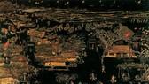 Tác phẩm tranh sơn khắc Thôn Vĩnh Mốc của Huỳnh Văn Thuận