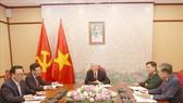 Tổng Bí thư, Chủ tịch nước Nguyễn Phú Trọng điện đàm trực tiếp  với Chủ tịch Đảng Nhân dân Campuchia, Thủ tướng Chính phủ Campuchia Hun Sen. Ảnh: TTXVN
