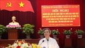 Đồng chí Nguyễn Văn Bình, Ủy viên Bộ Chính trị, Bí thư Trung ương Đảng, Trưởng Ban Kinh tế Trung ương phát biểu tại hội nghị