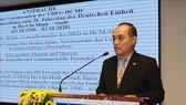 Ông Nguyễn Anh Tuấn, Chủ tịch Hội hữu nghị Việt - Đức Thành phố Hồ Chí Minh phát biểu tại buổi họp mặt. Ảnh: TTXVN