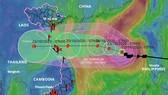 Dự báo hướng đi của bão số 8. Ảnh: Tổng cục Phòng chống thiên tai