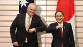 Thủ tướng Nhật Bản Suga Yoshihide và người đồng cấp Australia Scott Morrison. Nguồn: theaustralian.com.au