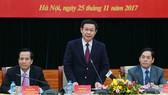 Phó Thủ tướng Chính phủ Vương Đình Huệ phát biểu tại buổi làm việc. Ảnh: VGP
