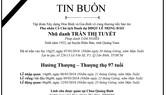 Tin buồn: Cụ bà Trần Thị Tuyết