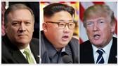 Giám đốc CIA Mike Pompeo (trái); lãnh đạo Triều Tiên Kim Jong Un (giữa) và Tổng thống Mỹ Donald Trump. Ảnh: REUTERS