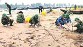 Xử lý dầu trong tàu chìm trên biển Hà Tĩnh trước tết