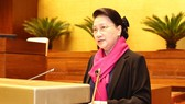 Chủ tịch Quốc hội Nguyễn Thị Kim Ngân phát biểu tại Hội nghị