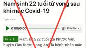 Thông tin nam sinh 22 tuổi mắc Covid-19 tử vong tại TPHCM đăng trên báo Dân trí là sai sự thật