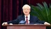 Tổng Bí thư Nguyễn Phú Trọng phát biểu bế mạc Hội nghị lần thứ tư Ban Chấp hành Trung ương Đảng khóa XIII. Ảnh: VIẾT CHUNG