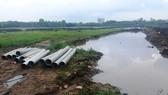 : Khu vực hố nước công trình nới xảy ra vụ việc.