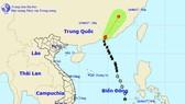 Vị trí và hướng di chuyển của bão số 1 – Merbok. Ảnh Trung tâm Dự báo KTTVTƯ.