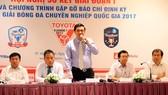 Ban lãnh đạo công ty VPF trong một phiên họp cùng giới truyền thông. Ảnh: T.L