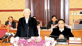 Tổng Bí thư Nguyễn Phú Trọng phát biểu kết luận tại cuộc họp đầu tiên năm Mậu Tuất 2018 của  Ban Bí thư  Ảnh: TTXVN