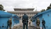 Binh sĩ Hàn Quốc và Triều Tiên ở làng đình chiến, nơi dự kiến diễn ra hội nghị thượng đỉnh liên Triều vào ngày 27/4. (Ảnh: Reuters)