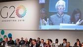 Tổng Giám đốc IMF Christine Lagarde phát biểu tại hội nghị Bộ trưởng Tài chính và Thống đốc Ngân hàng G20 ở Buenos Aires, Argentina ngày 21-7. (Ảnh: EPA-EFE/TTXVN)