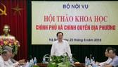 Bộ trưởng Bộ Nội vụ Lê Vĩnh Tân phát biểu khai mạc Hội thảo. Nguồn TCNN.VN