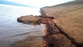 Hiện trường sạt lở phần dưới mái thân đập chính hồ Kẻ Gỗ