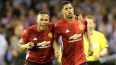 Marcus Rashford (phải) ghi bàn mang lại chiến thắng cho Man.Utd. Ảnh: Reuters