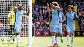 Niềm vui của các cầu thủ Manchester City trong trận đấu với Watford. Ảnh: Dailymail