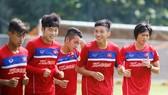 Các cầu thủ Việt Nam đang tự tin trước đối thủ Campuchia. Ảnh: Nhật Anh