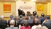 Tổng Bí thư Nguyễn Phú Trọng đến dự và phát biểu tại Trung tâm nghiên cứu chiến lược và quốc tế (CSIS). Ảnh: Trí Dũng/TTXVN