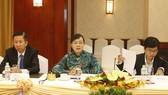 Chủ tịch HĐND Nguyễn Thị Quyết Tâm phát biểu tại buổi gặp. Ảnh: TTXVN