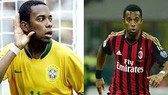 Robinho trong màu áo tuyển Brazil và CLB AC Milan