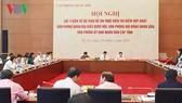 Hội nghị lấy ý kiến về dự thảo Đề án thực hiện thí điểm hợp nhất 3 văn phòng cấp tỉnh. Ảnh: VOV