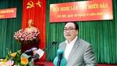 Bí thư Thành ủy Hà Nội Hoàng Trung Hải phát biểu bế mạc Hội nghị lần thứ 16 Ban Chấp hành Đảng bộ TP Hà Nội ngày 28-11. Ảnh: ANTĐ
