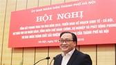 Đồng chí Hoàng Trung Hải, Ủy viên Bộ Chính trị, Bí thư Thành ủy Hà Nội phát biểu chỉ đạo hội nghị. Ảnh: TT-VH