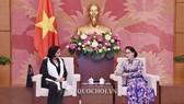 Chủ tịch Quốc hội Nguyễn Thị Kim Ngân tiếp Viện trưởng Viện KSND Tối cao Cuba, bà Yamila Pena Ojeda. Ảnh: Quốc hội
