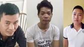 Từ trái qua: 3 bị can Lý Đình Vũ, Hoàng Văn Thám, Nguyễn Chương Đại tại cơ quan công an