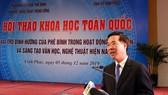 Đồng chí Võ Văn Thưởng, Trưởng Ban Tuyên giáo Trung ương phát biểu tại hội thảo. Ảnh: CAND