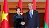 Chủ tịch Quốc hội Nguyễn Thị Kim Ngân hội đàm với Chủ tịch Viện Đại biểu Quốc hội (Hạ viện) Belarus Vladimir Andreichenko. Ảnh: TTXVN