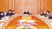 Tổng Bí thư, Chủ tịch nước Nguyễn Phú Trọng, Trưởng Tiểu ban Văn kiện Đại hội XIII của Đảng phát biểu kết luận cuộc họp. Ảnh: TTXVN