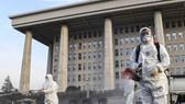 Các nhân viên khử trùng tại tòa nhà Quốc hội Hàn Quốc đầu tuần này. Ảnh: YONHAP