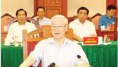 Tổng Bí thư, Chủ tịch nước Nguyễn Phú Trọng, Trưởng Tiểu ban Văn kiện Đại hội XIII của Đảng phát biểu kết luận cuộc họp Tiểu ban Văn kiện Đại hội XIII của Đảng. Ảnh: TTXVN