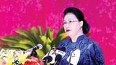 Chủ tịch Quốc hội Nguyễn Thị Kim Ngân phát biểu chỉ đạo đại hội. Ảnh: TTXVN