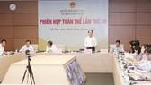 Chủ nhiệm Ủy ban Pháp luật của Quốc hội Hoàng Thanh Tùng phát biểu tại phiên họp. Ảnh: TTXVN
