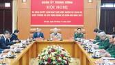 Hội nghị Quân ủy Trung ương diễn ra ngày 30-11 tại Hà Nội, dưới sự chủ trì của Tổng Bí thư, Chủ tịch nước Nguyễn Phú Trọng. Ảnh: VIẾT CHUNG