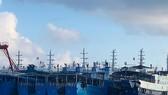Các tàu bị cho là thuộc dân quân biển Trung Quốc neo đậu tại đá Ba Đầu trong quần đảo Trường Sa thuộc chủ quyền Việt Nam ngày 27-3. Ảnh: REUTERS