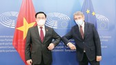 Chủ tịch Quốc hội Vương Đình Huệ hội đàm với Chủ tịch Nghị viện châu Âu David Sassoli. Ảnh: TTXVN