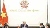 Chủ tịch nước Nguyễn Xuân Phúc cảm ơn Chính phủ và nhân dân Nhật Bản đã tích cực ủng hộ Việt Nam trong phòng, chống dịch Covid-19. Ảnh: BNG
