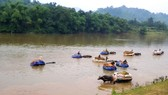 Để vận chuyển nông sản về nhà, người dân Đức Liên sử dụng trâu kéo vượt sông Ngàn Sâu