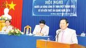 Ông Trần Văn Lắm - Chủ tịch kiêm Giám đốc Công ty TNHH MTV XSKT An Giang phát biểu tại Hội nghị
