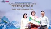 Chị Hoàng Thị Mai Phương (giữa), ngụ tại TPHCM, là người thắng giải chuyến đi Thụy Sỹ trị giá 240 triệu đồng này