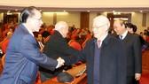 Tổng Bí thư, Chủ tịch nước Nguyễn Phú Trọng với các đồng chí nguyên lãnh đạo cấp cao của Đảng, Nhà nước. Ảnh: TTXVN