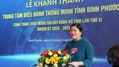 Chủ tịch UBND tỉnh Bình Phước Trần Tuệ Hiền phát biểu tại buổi lễ. Nguồn: MIC